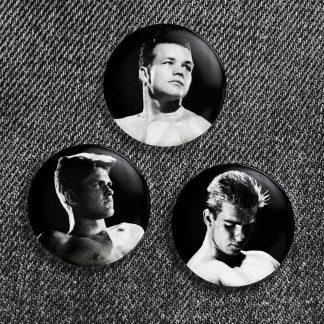 Vintage Beefcake Button Trio #1