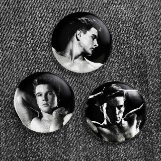 Vintage Beefcake Button Trio #2